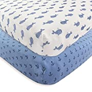 Hudson Baby 2 Piece Cotton Fitted Crib Sheet, Whale, One Size