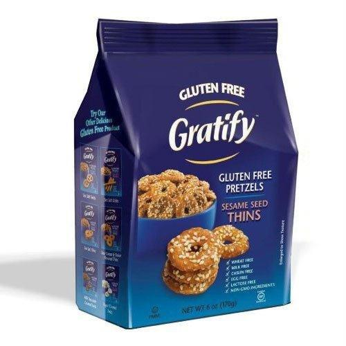 Gratify Pretzel Gluten Free Thin Sesame, 10.5 (Sesame Pretzels)