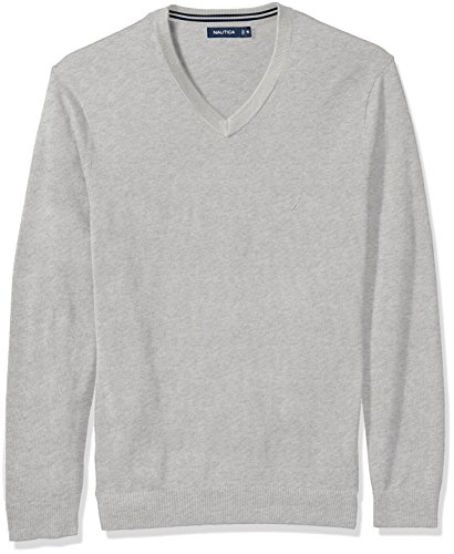 - Nautica Men's Standard Long Sleeve Solid Classic V-Neck Sweater, Grey Heather, Medium