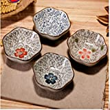 XDOBO Set Of 4 Asian Style Sauce Dishes Plate Soy Sauce Dish Cream Soup Bowl And Saucer