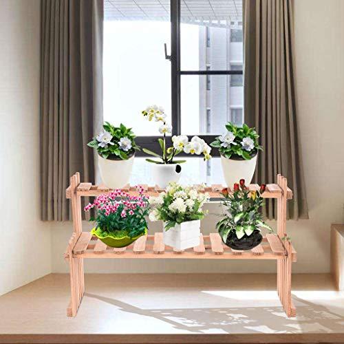 (BBtime 2 Tier Flower Stand Desktop Shelf Rack Plant Storage Wood Storage Balcony Indoor Multi-Layer Solid Living Room Home Pot Decorative)