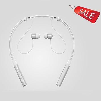 Bluetooth Auriculares inalámbricos cuello colgando colgando movimiento iPhone 4.1 Negro Oro Rosa Blanco (Color : White): Amazon.es: Electrónica