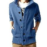 Longra Winter Men's Solid Slim Sweater Button Pocket Pullover Jumper Knitting Outwear Autumn Casual Blouse (Blue,XXL)