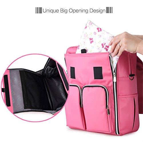 Kangming moda impermeable mochila momia bebé pañal bolso cambiador azul marino rosa