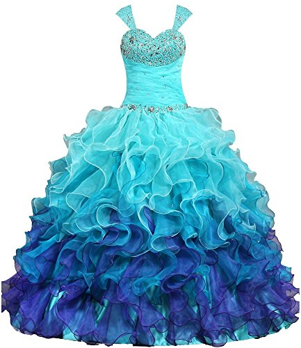 ANTS Women's Cap Sleeves Quinceanera Dress Ball Gown Prom Dresses 2017 Size 26W US Turquoise