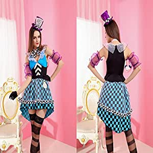 Gorgeous Mysterious blue skirt clown magician beautiful fashion modeling RPG stage clothes