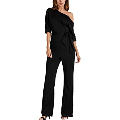 2337f98d9d03 Amazon.com: OLUOLIN Womens Sexy One Shoulder Jumpsuits High Waist Solid  Color Elegant Long Pants Romper with Belt: Clothing
