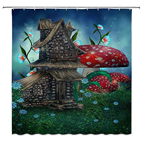 AMNYSF Mushroom House Decor Shower Curtain Red Mushrooms Colored Flowers Green Meadow Fairy Tale Fantasy Wonderland,70x70 Inch Waterproof Polyester Fabric Bathroom Accessories Curtains with Hooks