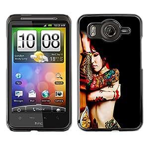 Qstar Arte & diseño plástico duro Fundas Cover Cubre Hard Case Cover para HTC Desire HD / G10 / inspire 4G( Body Art Tattoo Woman Red Asian Colorful Nude)