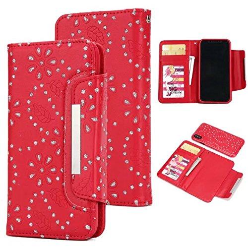 JIALUN-carcasa de telefono Cuero de la PU del diamante con la caja del ranurador de la tarjeta de la ranura del efectivo del caso del teléfono para el iPhone X ( Color : Purple ) Red