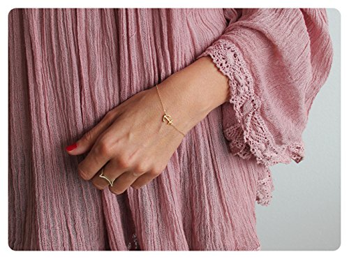 Anchor Links 14k Gold Bracelet (Fremttly Womens Simple Delicate Tiny Anchor and Cross Lace Chain Bracelet 14K Gold Fill Handmade Jewelry-BR-Anchor)