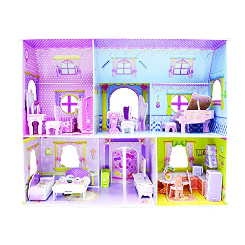 WISESTAR Large Princess Castle 3D Puzzles Model Dollhouse Kits for Girls, 92PCS Fairytale Housea with Furniture, Handmade Craft Kits, Educational Toy Birthday Gift for Kids and Adults ()
