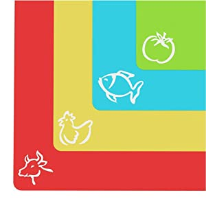 "Extra Thick Flexible Plastic Cutting Board Mats With Food Icons &""EZ-Grip"" Waffle Back, 4 packs"