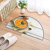 Semicircle Area Rug Carpet Pumpkin Soup on White Wooden Background Door mat Indoors Bathroom Mats Non Slip W47 x H32 INCH