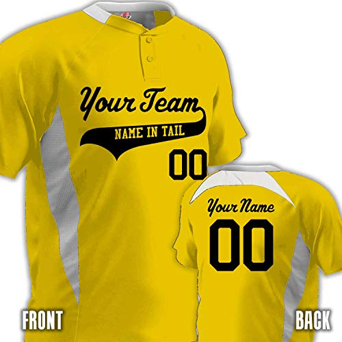 - Hardkor Sports 2-Button Jersey Contrast Angle Baseball Jersey | Gold and White | Youth Med