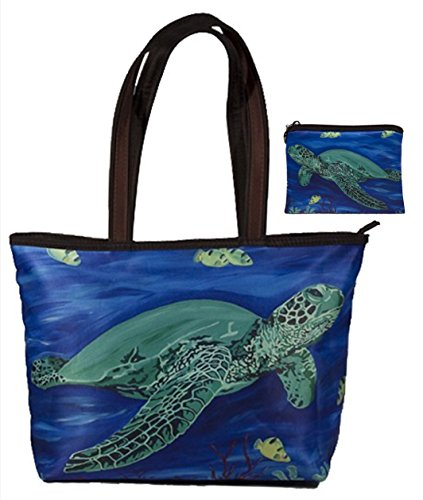 Sea Turtle Gift Set Shoulder Bag and Coin Purse- Support Wildlife Conservation - Read How - From My Original Painting, Wisdom