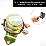Truck Battery Switch Electromagnetic Disconnector, E-KYLIN DC 24V Power Switch + One Button Control on Dash Master Kill System - Full Suite Avoid to Open The Front Hood