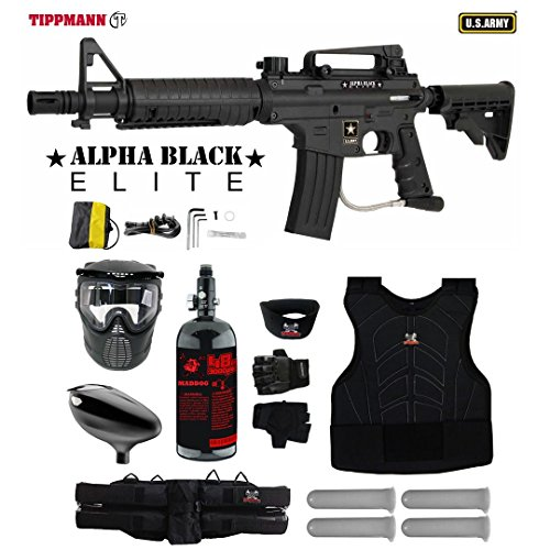 Tippmann U.S. Army Alpha Black Elite Tactical Starter Protective HPA Paintball Gun Package - (Paintball Starter Package)