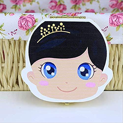 Children's Tooth Box, Painted Wooden Milk Tooth Souvenir Box for Kids Souvenir (Girl)