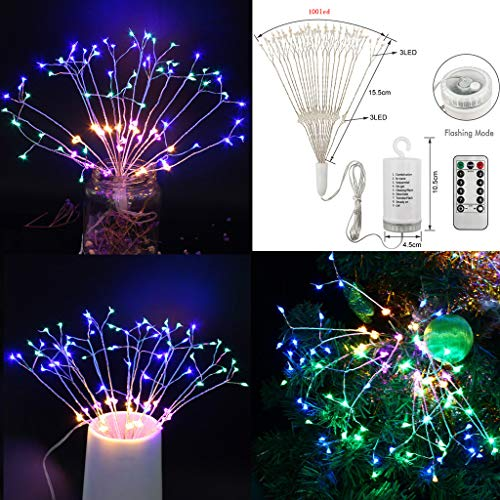 (Hanging Sphere Lights, Firework Lights, Tuscom Battery Operated Starburst Light 8 Modes Dimmable Remote Control Fairy Lights Decorative Copper Wire String Light for Christmas Decoration (Multicolor))