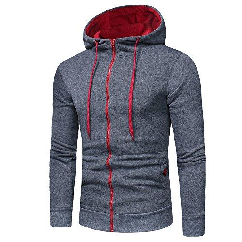 Sweatshirt For Men,Clearance Sale-Farjing Mens' Long Sleeve Hoodie Hooded Sweatshirt Tops Jacket Coat Outwear(L,Dark Gray) by Farjing