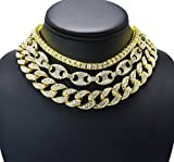 Prisa Times Hip Hop Quavo Choker 20'' Cuban & 18'' Full Iced Cuban & 1 ROW Tennis Necklace SET (Set)
