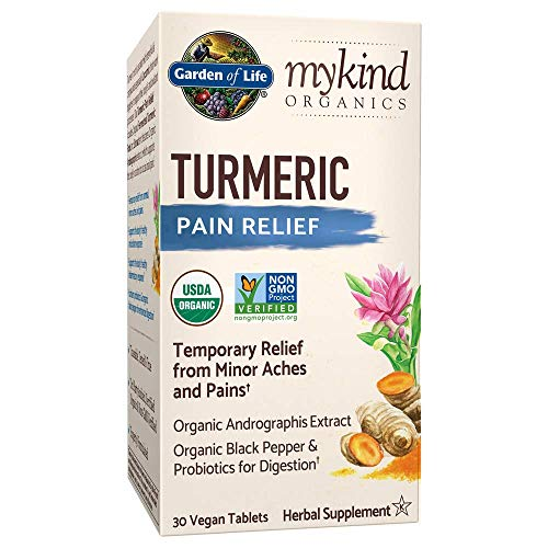 Garden of Life mykind Organics Turmeric Pain Relief 30 Tablets – 50mg Curcumin (95% Curcuminoids), Andrographis, Black Pepper & Probiotics – Organic, Non-GMO, Vegan & Gluten Free Herbal Supplements