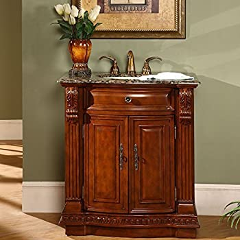 Charmant Silkroad Exclusive Granite Stone Top Single Sink Bathroom Vanity With  Cherry Finish Cabinet, 33 Inch