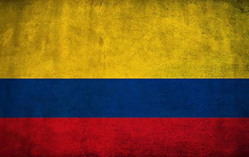 Colombia Flag Framed Canvas Print Ready to Hang 36x24inch