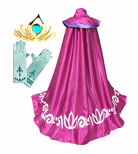 Frozen Anna ELSA Coronation Costume Girl's Long Cape Cloak + Gloves +Tiara Crown (7-8 Years, Pink) ()