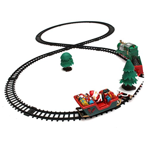 KINGSO Electric Toy Christmas Train Set Carriages Xmas Tree Headlight Tracks Set Battery Operated (Xmas Train)