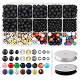 752pcs Lava Beads Kit, Lava Stone Rock Beads | Chakra Beads | Spacers Beads with 2 Rolls Elastic Bracelet String and Needle for Essential Oils Bracelet Necklace Jewelry Making (8mm 6mm 4mm)