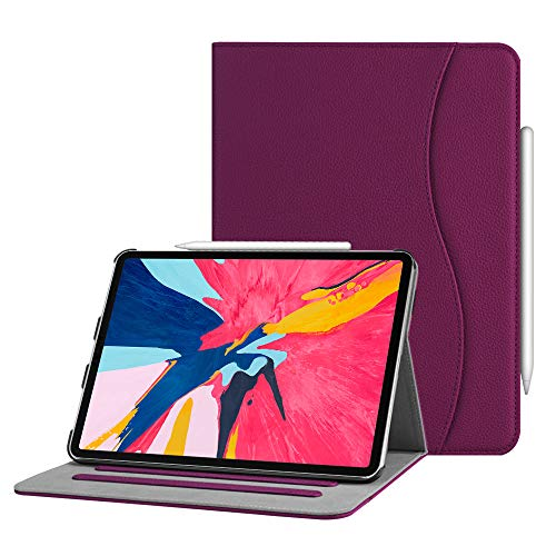 Fintie Case for iPad Pro 11 2018 [Supports 2nd Gen Pencil Charging Mode] - Multi Angle Viewing Folio Cover with Pocket [Secure Pencil Holder] Auto Sleep/Wake for iPad Pro 11 2018, Purple