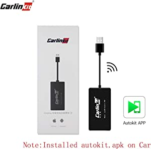 Carlinkit Wireless CarPlay Dongle Wired Android Auto USB Dongle, Mirroring, SIRI Voice Control/Google Maps/Waze, Online Upgrade System, Black (Install Autokit app in Android Car Radio System)