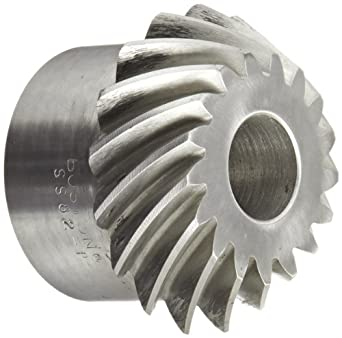 "Boston Gear SS82-P Spiral Bevel Pinion Gear, 2:1 Ratio, 0.750"" Bore, 8 Pitch, 17 Teeth, 35 Degree Spiral Angle, Steel"