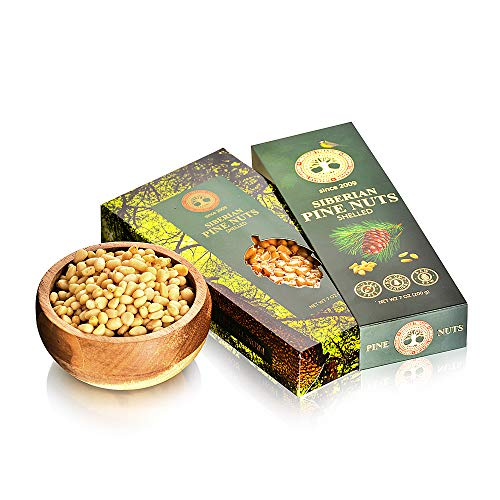 FRESH HARVEST 2018 SIBERIAN Pine Nuts, Pine Kernels from Siberia, Pine Nuts, Wild Harvested in taiga, 200 Grams (7.05 Oz)