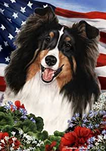 Sheltie Dog Breed Patriotic House Flag 28 x 40 Inches Tri