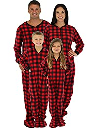 Family Matching Red Plaid Fleece Onesie PJs Footed Pajama