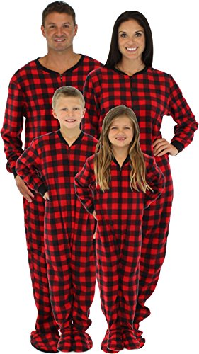 8bf65640f64d SleepytimePjs Family Matching Red Plaid Fleece Footed Pajamas-4T