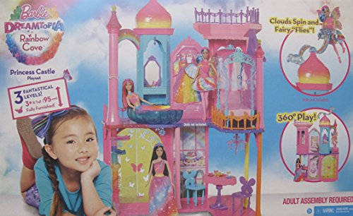 BARBIE Dreamtopia RAINBOW COVE PRINCESS CASTLE Playset is FULLY FURNISHED w 3 LEVELS & 3+ FEET Tall & SHIPPER BOX (Fairy Castle Playset)
