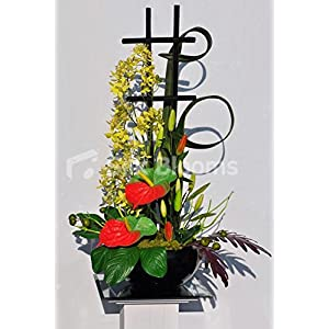 Vibrant Yellow, Red and Green Anthurium and Orchid Floral Table Display 82