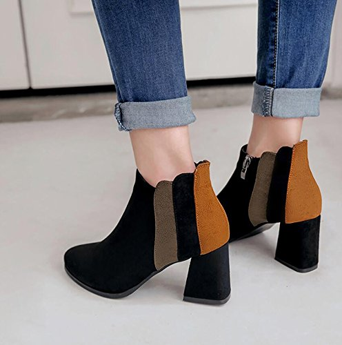 KHSKX-Tip High Heels Boots Female Rough With Women'S Shoes The Korean Version Of The Spring And Autumn Wild Boots Black 7Cm Martin Boots Winter Bare Boots 36 jmTaNBJ