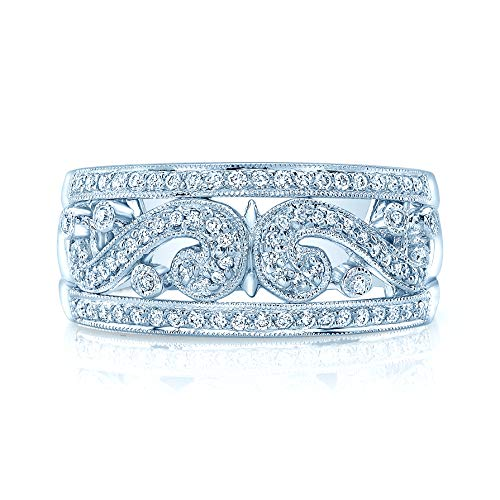 - Diamond Paisley Pattern Band With Milgrain In 18k White Gold, Size 7