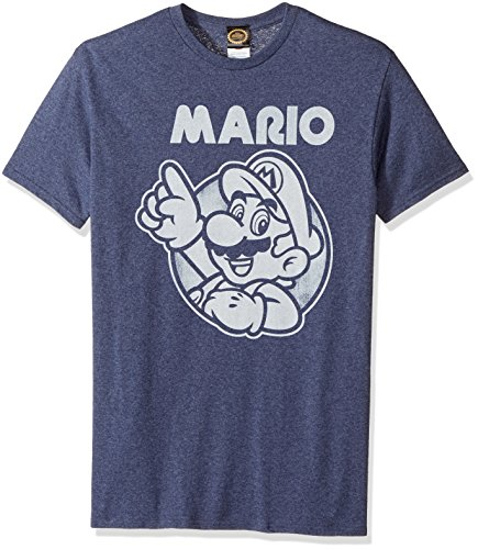 (Nintendo Men's So Mario T-Shirt, Premium Navy Heather,)
