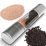 Salt and Pepper Grinder - Premium 2 in 1 Stainless Steel Grinder...