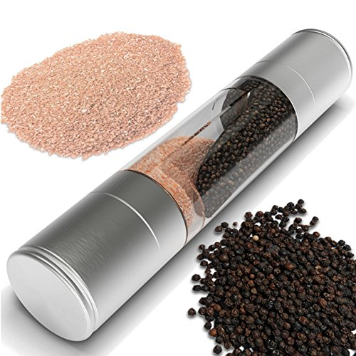 Salt and Pepper Grinder - Premium 2 in 1 Stainless Steel Grinder Combo Set - Mill Grinder Seasoning Cooking Tools By VERENIX