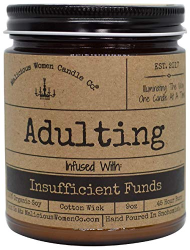 Malicious Women Candle Co - Adulting, Espresso Yo Self Infused with Insufficient Funds, All-Natural Organic Soy Candle, 9 oz