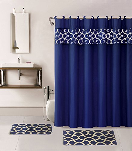 15 Pieces Solid Color with Embroidery Butterfly and Geometric Design Bathroom Mats Set Non-slip Rug Carpet Shower Curtain and Hooks (Geometric-navy)