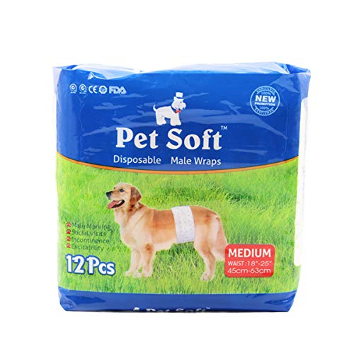 Pet Soft Male Pet Simple & Convenient Disposable Wrap Dog Diapers, White, 12 Count/Medium