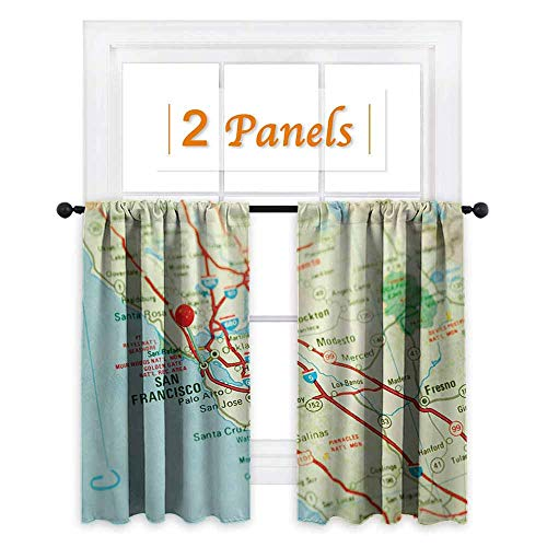 shenglv Map Window Curtain Drape Vintage Map of San Francisco Bay Area with Red Pin City Travel Location Customized Curtains W72 x L63 Pale Blue Pale Green Red